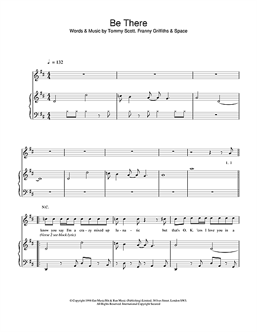 Space Be There sheet music notes and chords. Download Printable PDF.