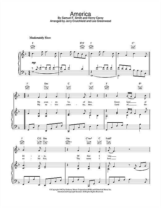 Lee Greenwood America sheet music notes and chords. Download Printable PDF.