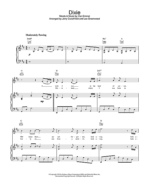 Lee Greenwood Dixie sheet music notes and chords. Download Printable PDF.
