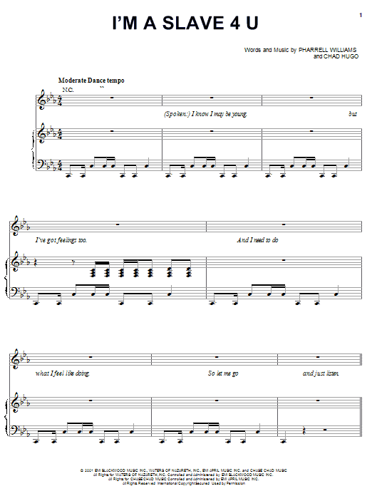 Britney Spears I'm A Slave 4 U sheet music notes and chords. Download Printable PDF.