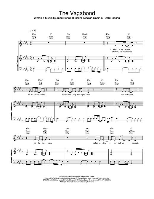 Air The Vagabond sheet music notes and chords. Download Printable PDF.