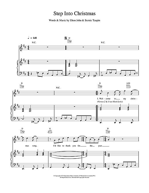 Elton John Step Into Christmas sheet music notes and chords. Download Printable PDF.
