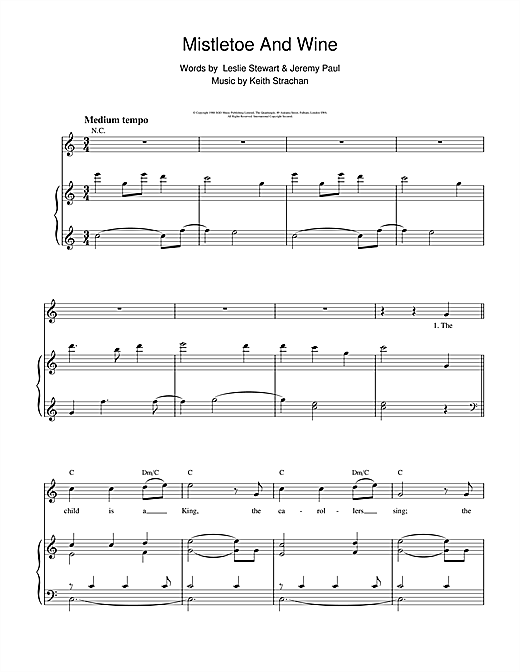 Cliff Richard Mistletoe And Wine sheet music notes and chords. Download Printable PDF.