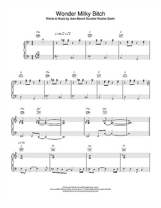 Air Wonder Milky Bitch sheet music notes and chords. Download Printable PDF.