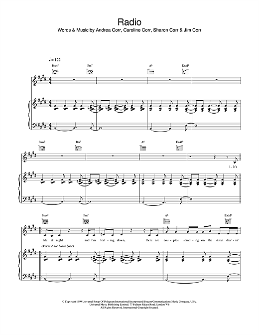 The Corrs Radio sheet music notes and chords. Download Printable PDF.