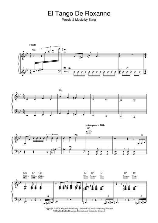 Sting El Tango De Roxanne sheet music notes and chords. Download Printable PDF.
