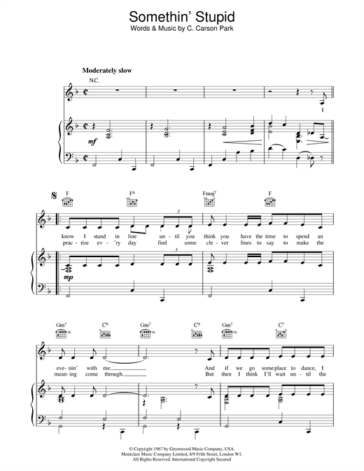 Robbie Williams and Nicole Kidman Somethin' Stupid sheet music notes and chords. Download Printable PDF.