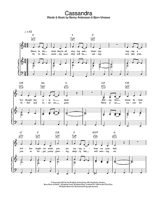 ABBA Cassandra sheet music notes and chords. Download Printable PDF.