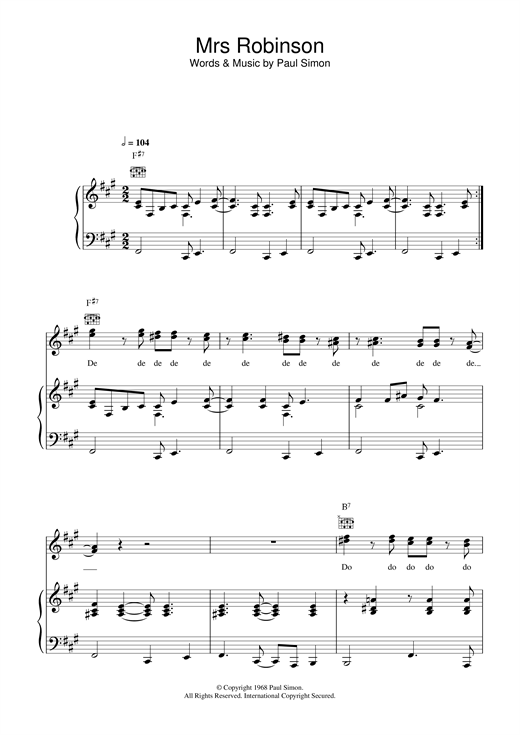 Simon & Garfunkel Mrs. Robinson sheet music notes and chords. Download Printable PDF.