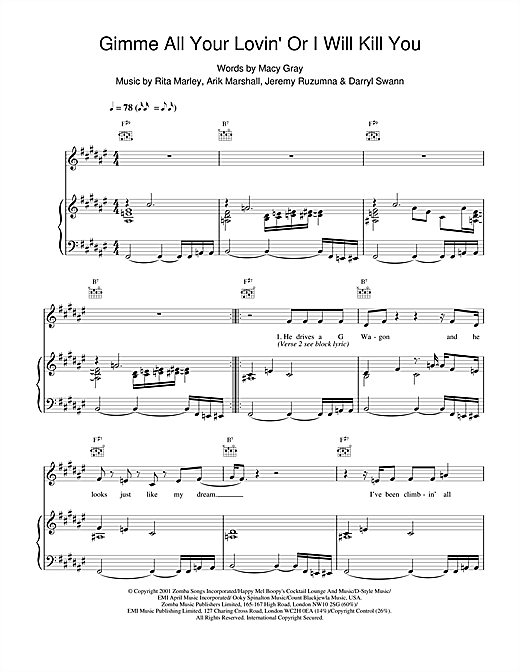 Macy Gray Gimme All Your Lovin' Or I Will Kill You sheet music notes and chords. Download Printable PDF.