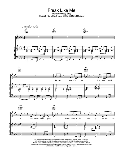 Macy  Gray Freak Like Me sheet music notes and chords. Download Printable PDF.