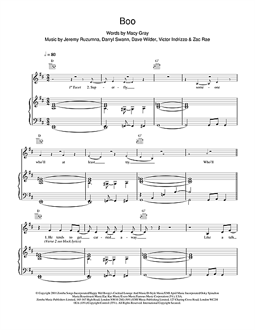 Macy Gray Boo sheet music notes and chords. Download Printable PDF.