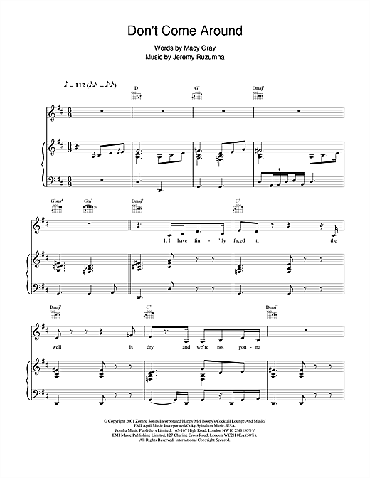Macy Gray Don't Come Around sheet music notes and chords. Download Printable PDF.