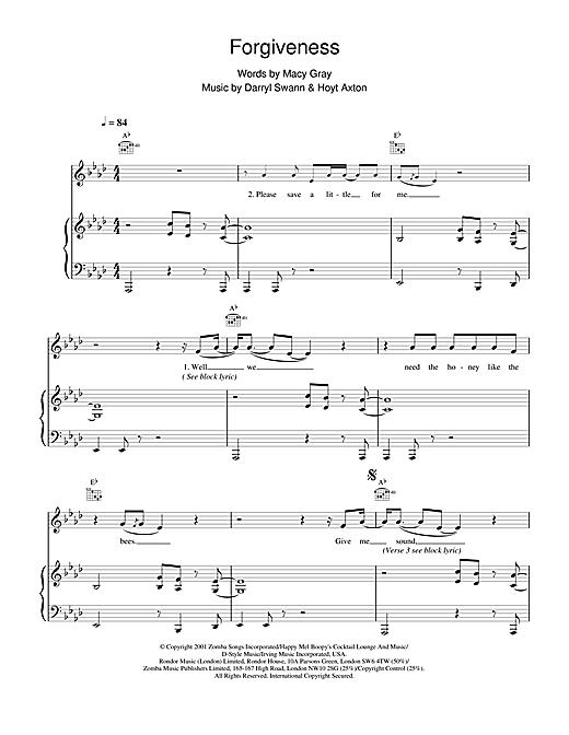 Macy  Gray Forgiveness sheet music notes and chords. Download Printable PDF.