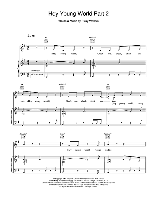 Macy Gray Hey Young World Part 2 sheet music notes and chords. Download Printable PDF.
