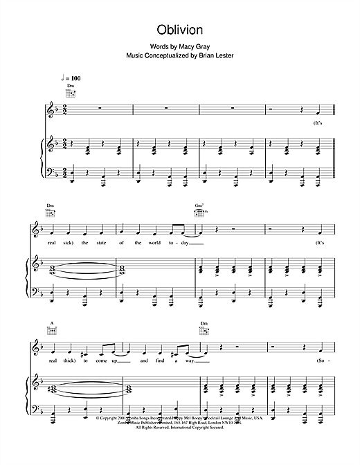 Macy Gray Oblivion sheet music notes and chords. Download Printable PDF.