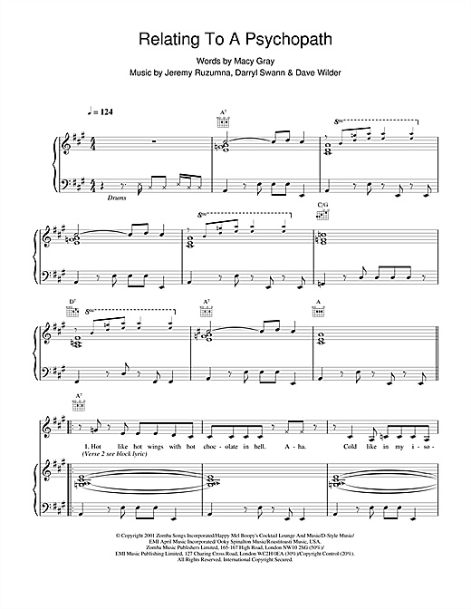 Macy Gray Relating To A Psychopath sheet music notes and chords. Download Printable PDF.