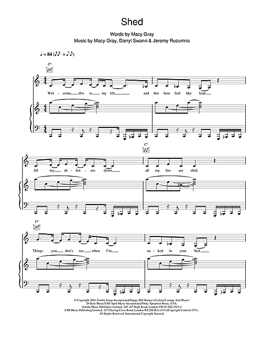 Macy Gray Shed sheet music notes and chords. Download Printable PDF.