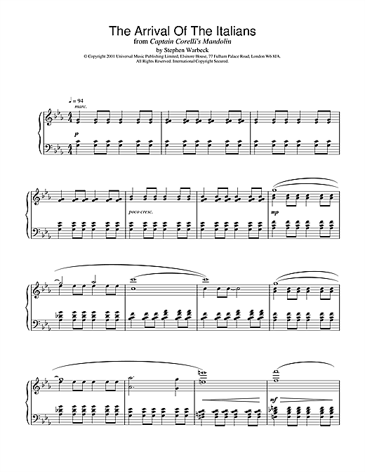 Stephen Warbeck The Arrival Of The Italians (from Captain Corelli's Mandolin) sheet music notes and chords. Download Printable PDF.