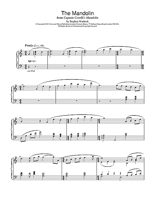 Stephen Warbeck The Mandolin (from Captain Corelli's Mandolin) sheet music notes and chords. Download Printable PDF.