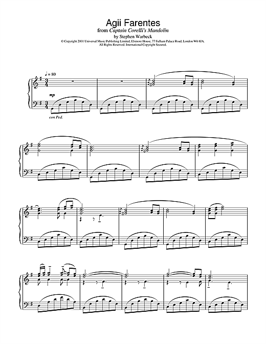 Stephen Warbeck Agii Fanentes (from Captain Corelli's Mandolin) sheet music notes and chords. Download Printable PDF.