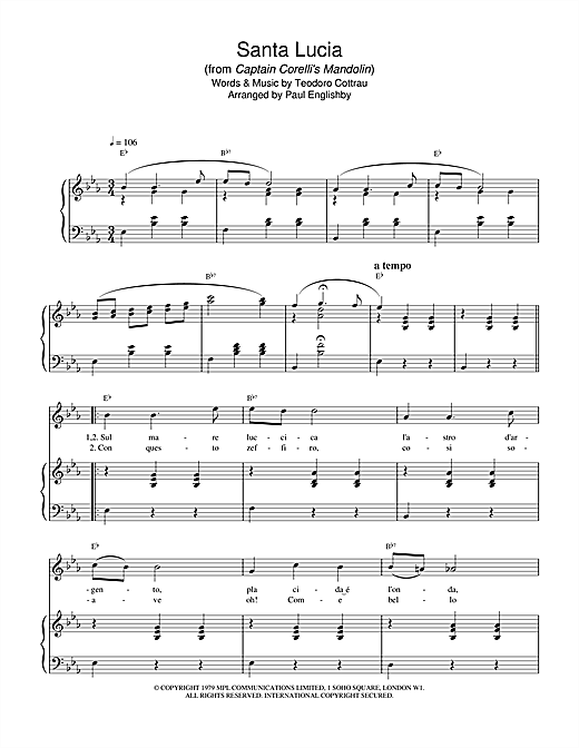 Teodoro Cottrau Santa Lucia (from Captain Corelli's Mandolin) sheet music notes and chords. Download Printable PDF.