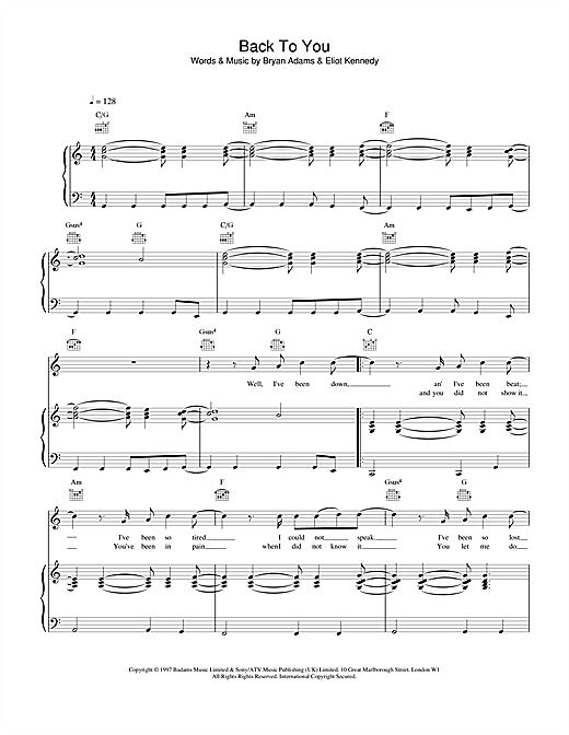 Bryan Adams Back To You sheet music notes and chords. Download Printable PDF.