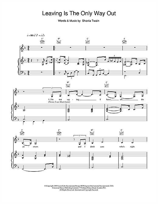 Shania Twain Leaving Is The Only Way Out sheet music notes and chords. Download Printable PDF.