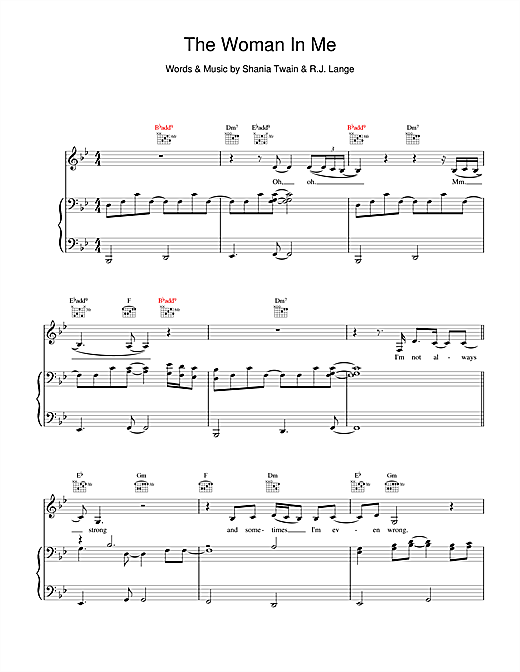 Shania Twain The Woman In Me (Needs The Man In You) sheet music notes and chords. Download Printable PDF.