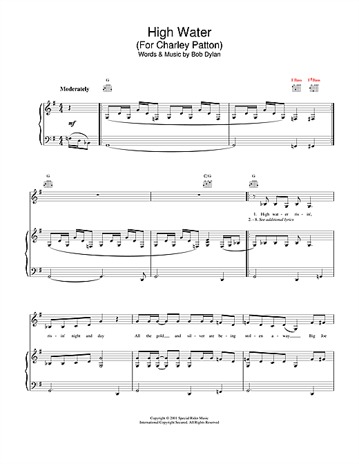 Bob Dylan High Water (For Charley Patton) sheet music notes and chords. Download Printable PDF.
