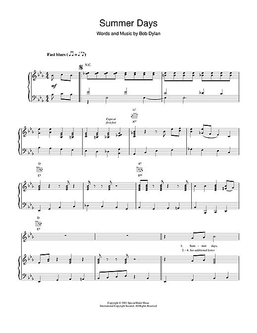 Bob Dylan Summer Days sheet music notes and chords. Download Printable PDF.
