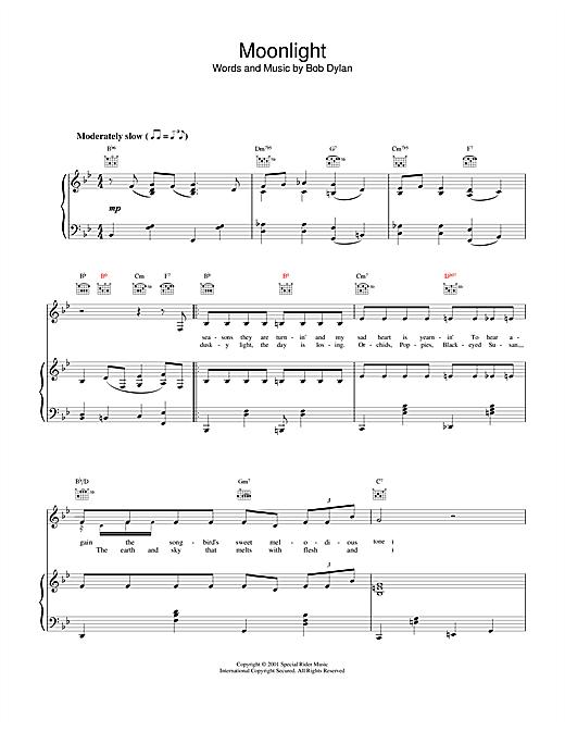 Bob Dylan Moonlight sheet music notes and chords. Download Printable PDF.