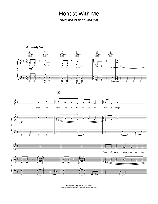 Bob Dylan Honest With Me sheet music notes and chords. Download Printable PDF.