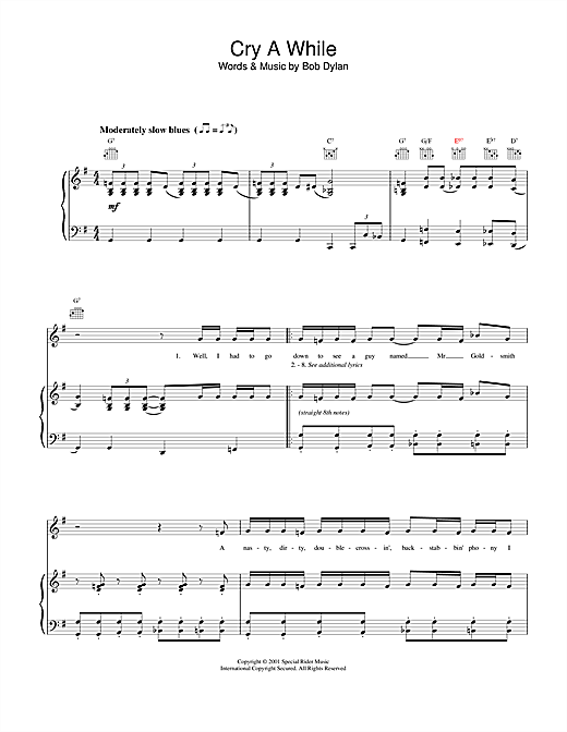 Bob Dylan Cry A While sheet music notes and chords. Download Printable PDF.