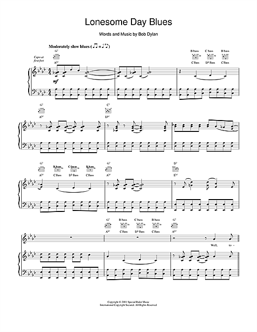 Bob Dylan Lonesome Day Blues sheet music notes and chords. Download Printable PDF.