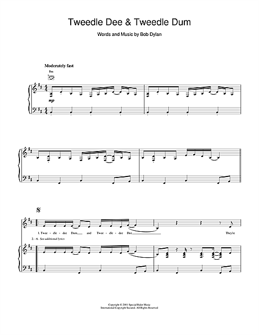 Bob Dylan Tweedle Dee & Tweedle Dum sheet music notes and chords. Download Printable PDF.
