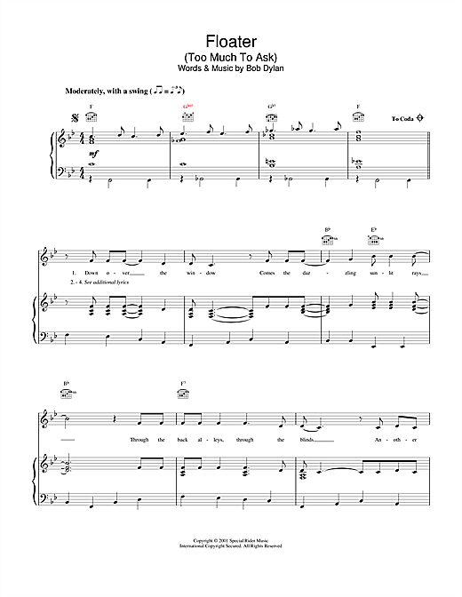 Bob Dylan Floater sheet music notes and chords. Download Printable PDF.