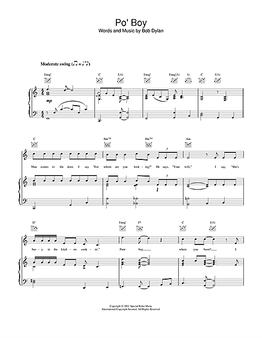 Bob Dylan Po' Boy sheet music notes and chords. Download Printable PDF.
