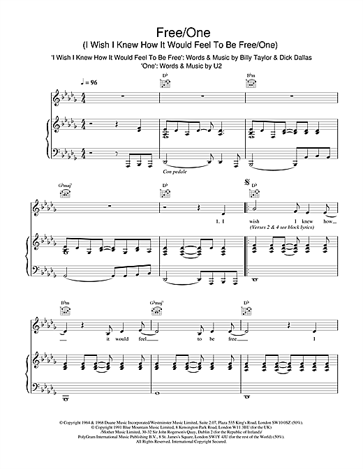 The Lighthouse Family Free/One (I Wish I Knew How It Would Feel To Be & One) sheet music notes and chords. Download Printable PDF.
