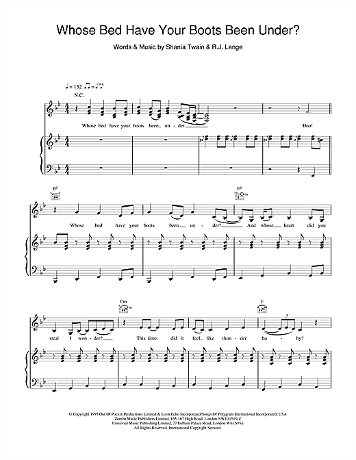 Shania Twain Whose Bed Have Your Boots Been Under? sheet music notes and chords. Download Printable PDF.