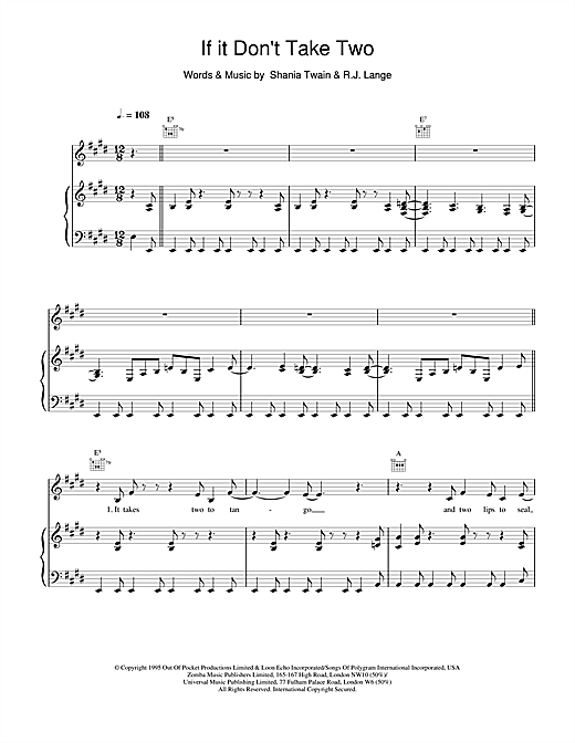 Shania Twain If It Don't Take Two sheet music notes and chords. Download Printable PDF.