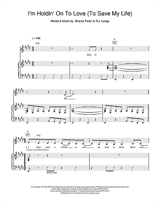 Shania Twain I'm Holdin' On To Love (To Save My Life) sheet music notes and chords. Download Printable PDF.