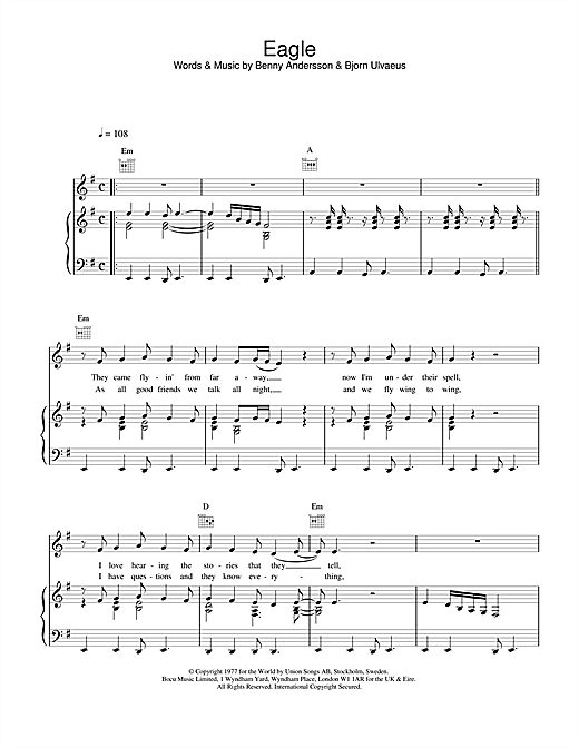 ABBA Eagle sheet music notes and chords. Download Printable PDF.