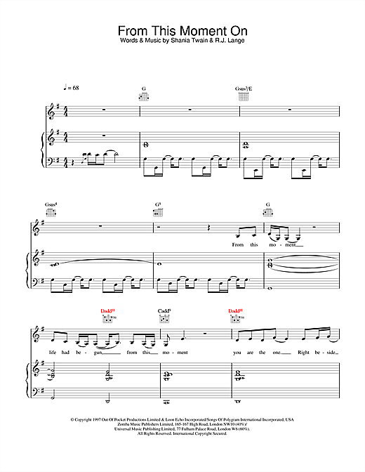 Shania Twain From This Moment On sheet music notes and chords. Download Printable PDF.