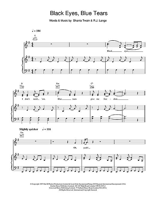 Shania Twain Black Eyes, Blue Tears sheet music notes and chords. Download Printable PDF.