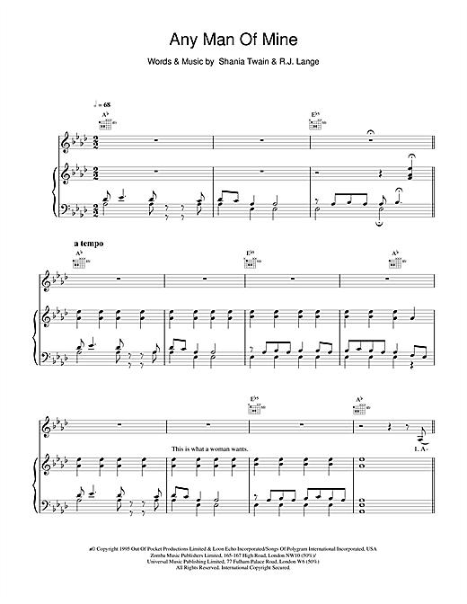 Shania Twain Any Man Of Mine sheet music notes and chords. Download Printable PDF.