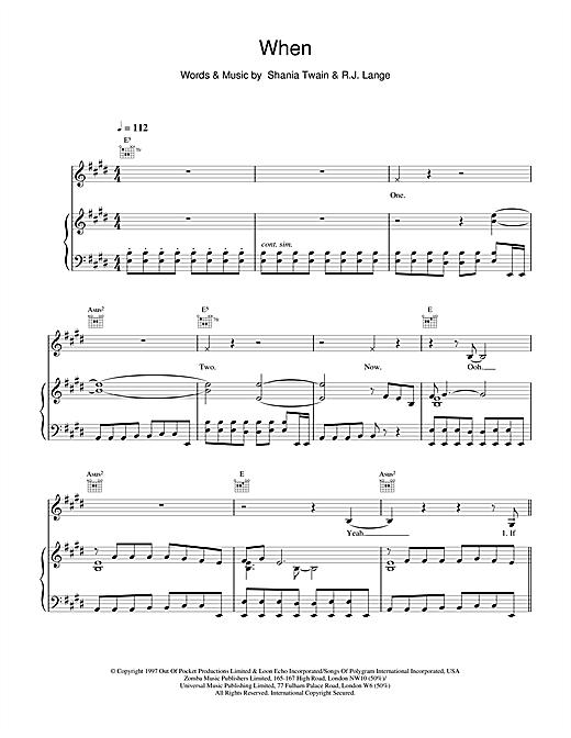 Shania Twain When sheet music notes and chords. Download Printable PDF.