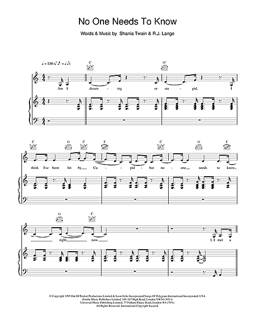 Shania Twain No One Needs To Know sheet music notes and chords. Download Printable PDF.
