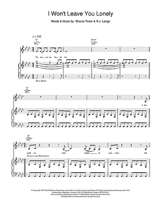 Shania Twain I Won't Leave You Lonely sheet music notes and chords. Download Printable PDF.