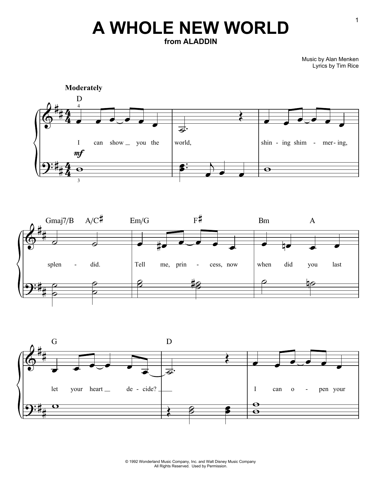 Alan Menken A Whole New World (from Aladdin) sheet music notes and chords. Download Printable PDF.